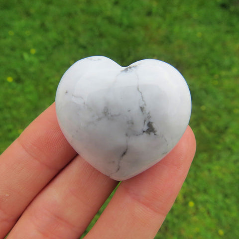 White Howlite Carved Crystal Heart Stone - Puffy White Heart