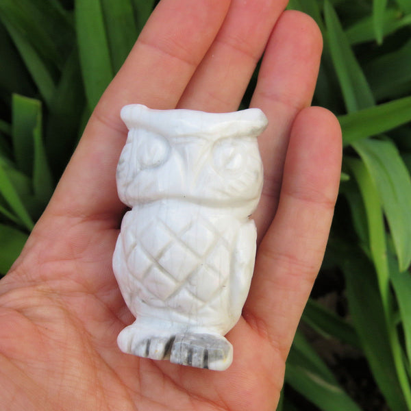 White Owl Crystal Figurine - Carved Stone Owl