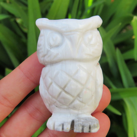 White Howlite Carved Stone Owl Crystal Figurine