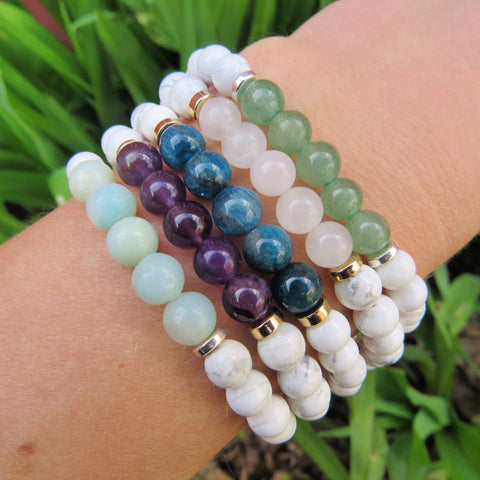 White Stone Beaded Crystal Bracelet w/ Aventurine, Rose Quartz, Apatite, Amethyst, and Amazonite Beads