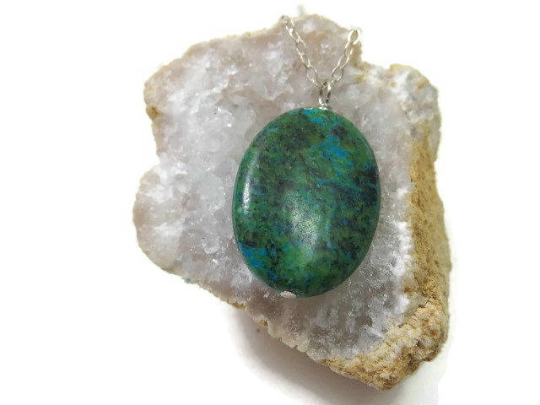 Chrysocolla Crystal Necklace | Green Stone Chrysocolla Jewelry