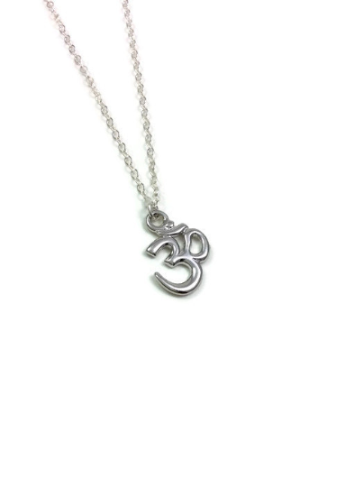 Sterling Silver OM Charm Necklace