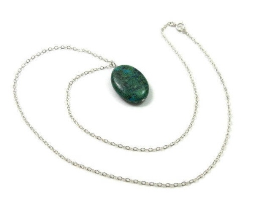Green Stone Crystal Chrysocolla Necklace - Chain