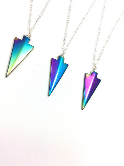 Rainbow Hematite Arrowhead Crystal Necklace