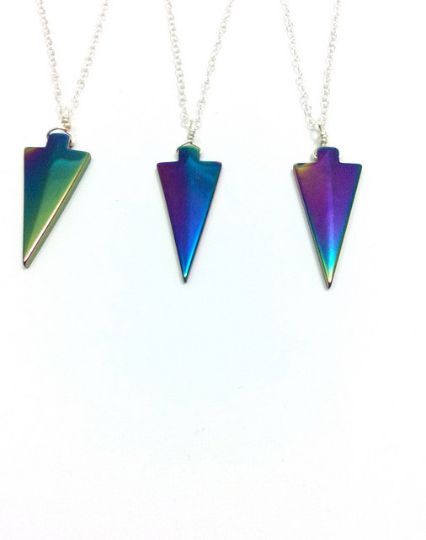 Rainbow Hematite Arrowhead Necklaces