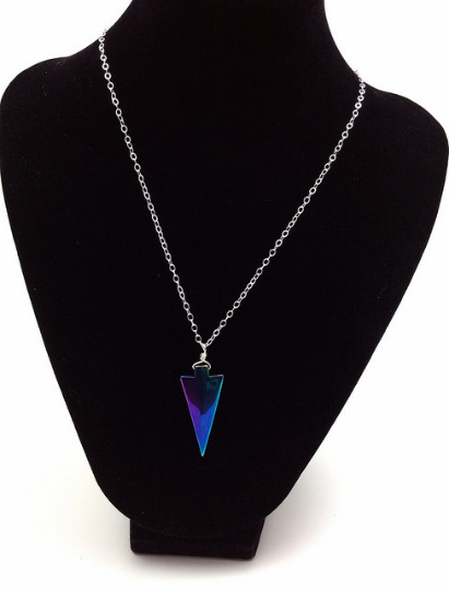 Rainbow Hematite Crystal Arrowhead Necklace