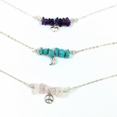 Crystal Charm Necklace | Chip Bead Stone Necklace w/ Ster. Silver Charm
