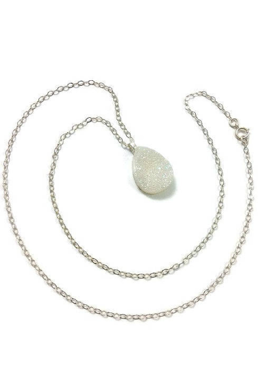 Angel Aura Quartz Necklace | White Rainbow Druzy Necklace