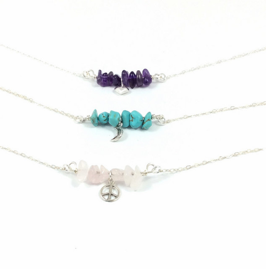 Crystal Chip Bead Sterling Silver Necklace