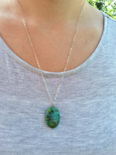 Green Stone Crystal Chrysocolla Necklace - On Model