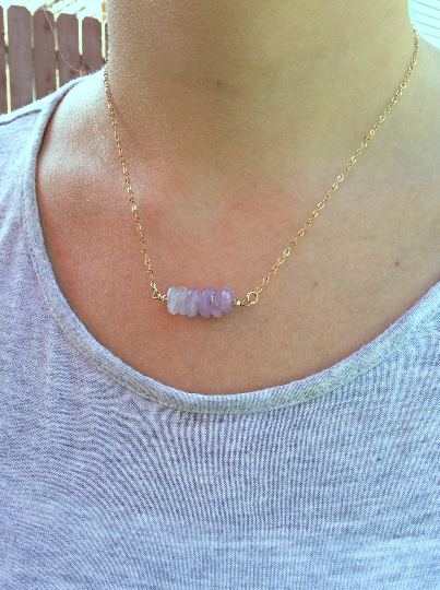 Lavender Purple Jade Necklace w/ Chip Stone Beads | Jade Crystal Jewelry