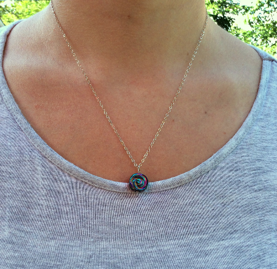 Hematite Crystal Rainbow Rose Necklace - On Model