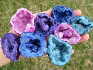 Colored Geode Quartz Crystal Clusters - Pink, Blue, Purple, Aqua