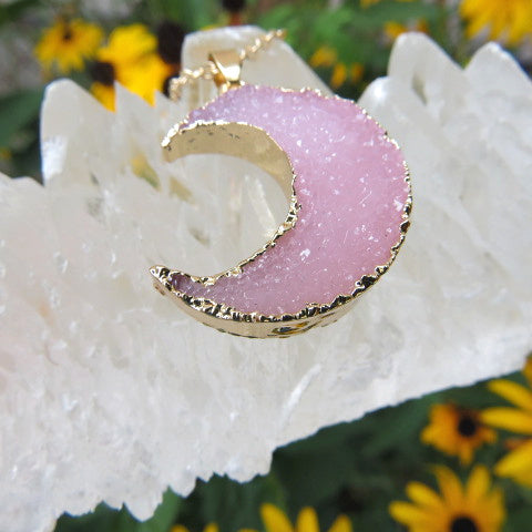 Pink Crescent Moon Necklace - Faux Druzy Crystal - Side