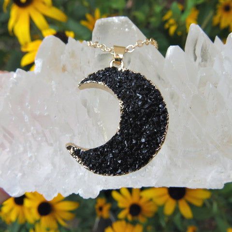 Black Crescent Moon Necklace - Faux Druzy Crystal