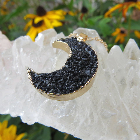 Black Crescent Moon Necklace - Faux Crystal - Side