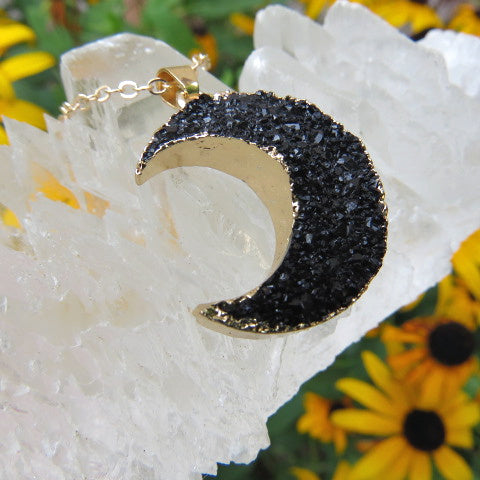 Black Crescent Moon Necklace - Faux Crystal - Side 2