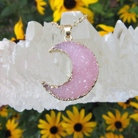 Pink Crescent Moon Necklace in Gold - Faux Druzy Crystal