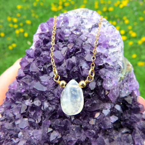 Rainbow Moonstone Crystal Necklace in Gold | Stone Choker Necklace