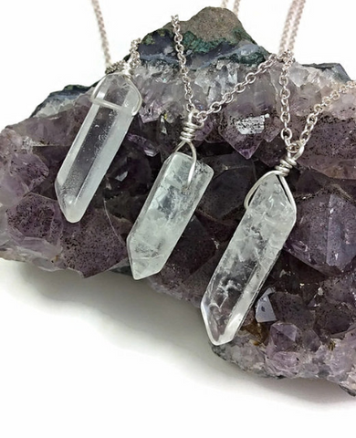 Clear Quartz Point Crystal Necklaces in Silver - Healing Quartz Necklace