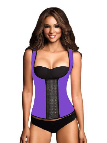 9 Steel Boned Purple Latex Waist Trainer Vest With Straps