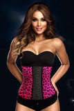 9 Steel Boned Pink Leopard Latex Waist Trainer