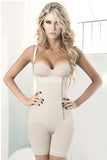 Nude Side Zipper Lace Hem Pants Corset Body Shaper
