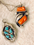 Two Pendants with Silver Chain -Turquoise, Red Coral