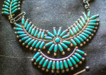 Zuni Needlepoint Turquoise Necklace with Earrings