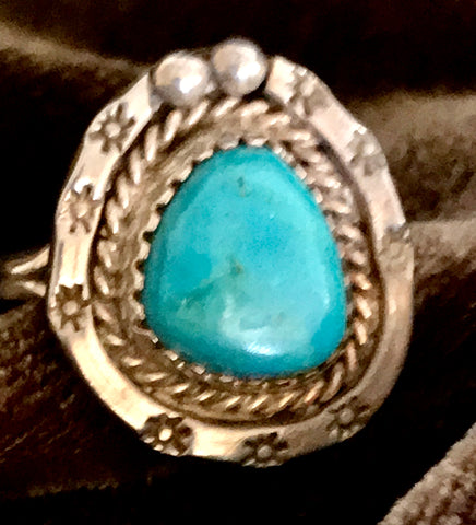 Turquoise in Silver Ring