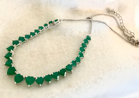 Sterling Silver and Green Onyx Necklace