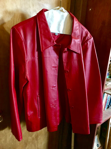 Ladies Classic Red Leather Jacket