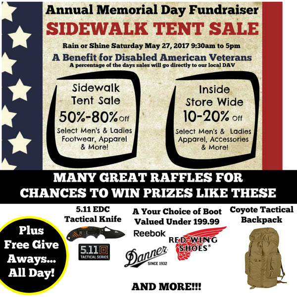 Saturday May 27. Annual Memorial Day Sidewalk Sale Fundraiser to Benefit Disabled American Veterans