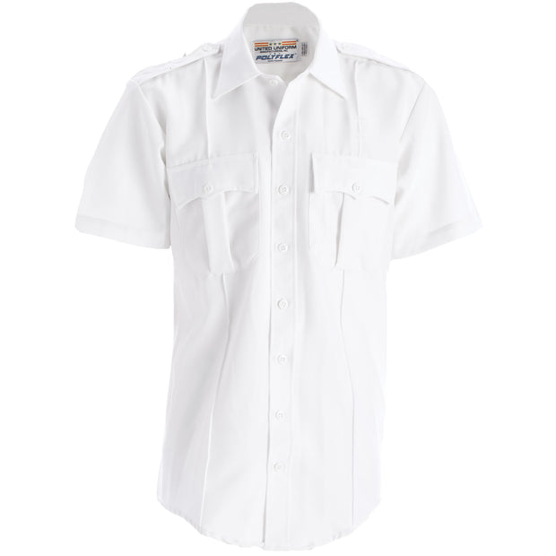 Short Sleeve Polyflex Zippered Uniform Shirt | White
