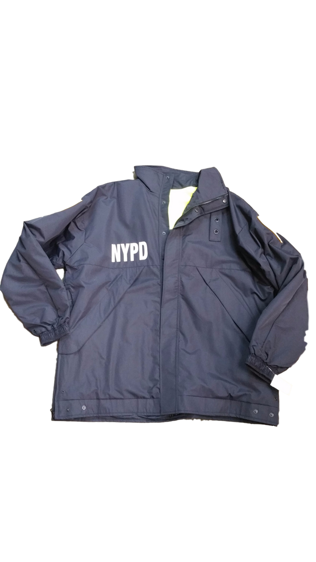 NYPD Reversible Hi-Vis Raincoat with Screen Print  & Patches