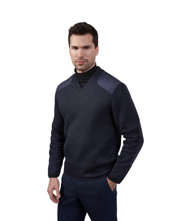 V Neck Fleece Lined Commando Sweater | Navy