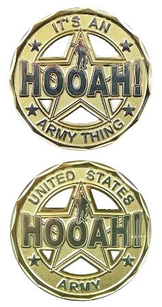 Hooah Cut Out Challenge Coin