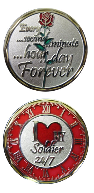 I Love My Soldier with Clock and Rose Challenge Coin