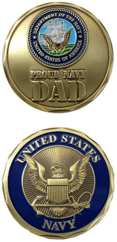 USN Proud Navy Dad Challenge Coin