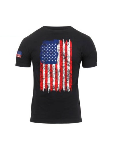 Distressed US Flag Athletic Fit T-Shirt | Black