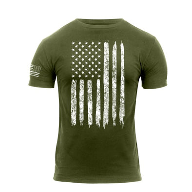 Distressed US Flag Athletic Fit T-Shirt | Olive