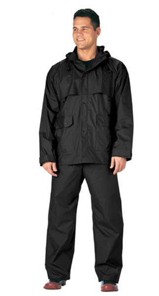 2 Piece Microlite PVC Waterproof Rain Suit | Black