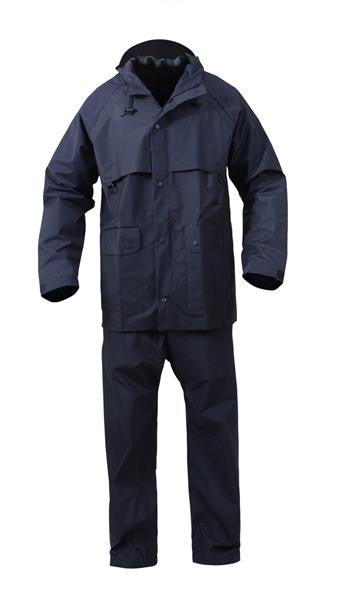 2 Piece Microlite PVC Waterproof Rain Suit | Navy