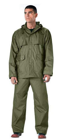 2 Piece Microlite PVC Waterproof Rain Suit | Olive