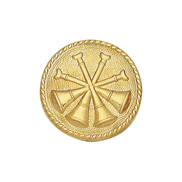 4X Bugle Round Disc Collar Insigina | Gold or Silver