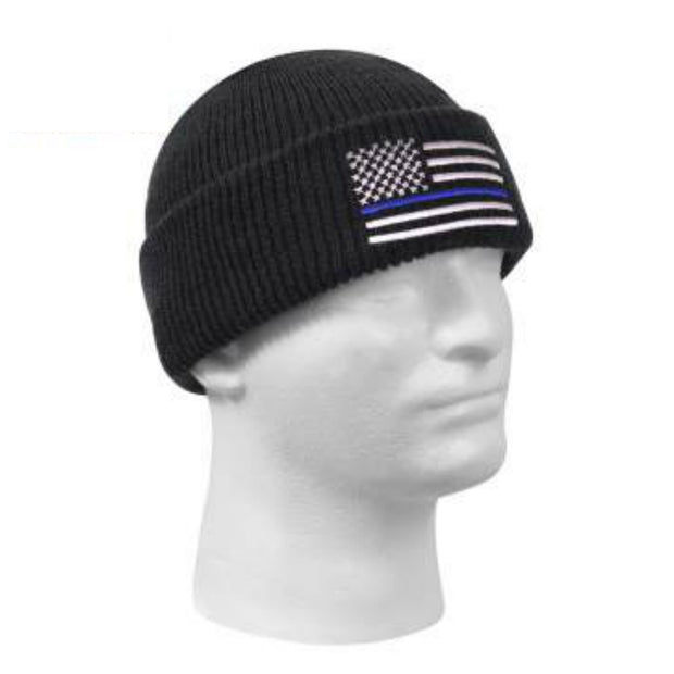 Thin Blue Line Embroidered Winter Watch Cap  Hat