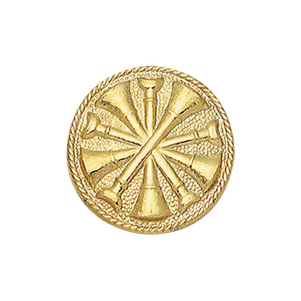 5X Bugle Round Disc Collar Insigina | Gold or Silver