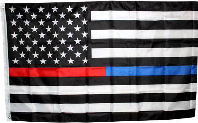 3x5 Polyester First Responder Thin Blue Line / Thin Red Line Flag