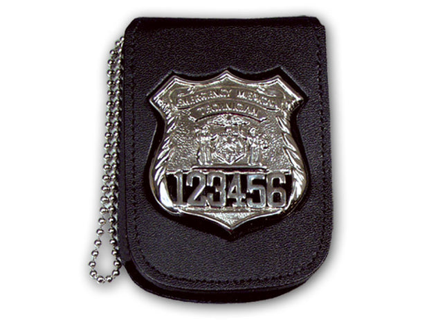 "Recessed Neck Badge and ID Holder With 30"" Beaded Chain and Velcro Closure Belt Clip Badge Holder with Velcro Closure"