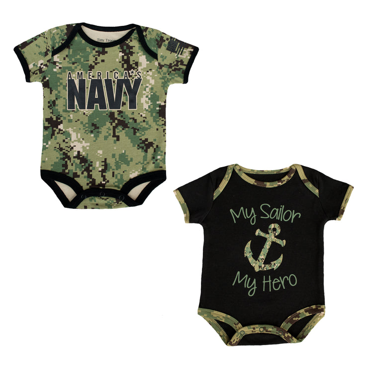 Navy Infant Bodysuits | 2 Pack